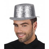 Chapeau Haut de Forme Pailleté Argent Plastique