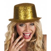 Chapeau Haut de Forme Pailleté Or Plastique