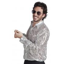 Déguisement Chemise Paillettes Argent / Disco