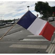 Drapeau France Tissu avec Hampe