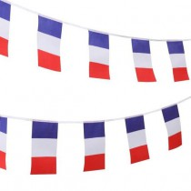 Guirlande Plastique Drapeaux Tricolores - 15 Drapeaux