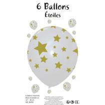 Lot de 6 Ballons Etoiles