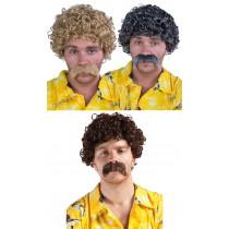 Perruque Lucien avec Moustaches - 3 Coloris au Choix